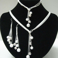Women's Wedding Jewelry Polished Finished Bracelets Pendant Necklaces Drop Earrings Silver Plated Y Shape Beads Jewelry Sets