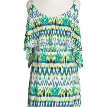 Girl's To The 9's Ikat Print Sleeveless Dress