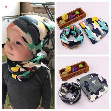 Autumn Winter Baby Hat Scarf Nice Camo Print Cotton Kids Boy Girls Cap Collar Scaves Children's Caps Beanie Set