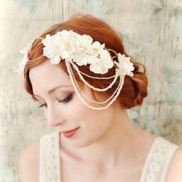 Ivory bridal headpiece, flapper flower crown, wedding accessory