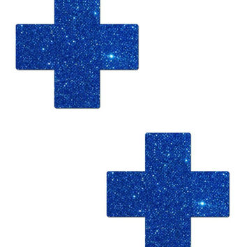 PLUS X: CRYSTAL BLUE GLITTER CROSS NIPPLE PASTIES