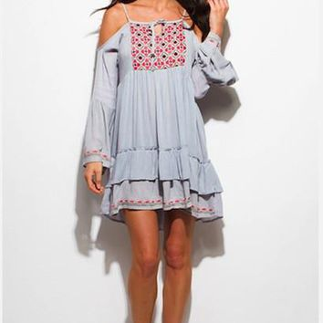 STONE GREY ETHNIC EMBROIDERED COLD SHOULDER RUFFLE TIERED BOHO PEASANT MINI DRESS