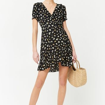 Ruffled Daisy Print Wrap Dress