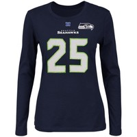Richard Sherman Seattle Seahawks Majestic Womens Fair Catch V Name and Number Long Sleeve T-Shirt – College Navy