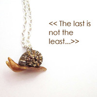 Snail necklace polymer clay animal necklace free by FlowerLandShop