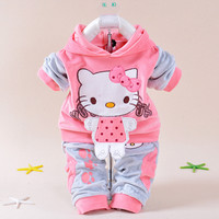 New Baby Children Clothes Suits Velvet Hello Kitty Cartoon T Shirt Hoodies Pant Twinset Long Sleeve Children Clothing Sets