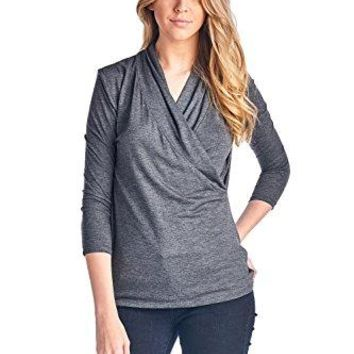 LaClef Womens Crossover Front Wrap 34 Sleeve Surplice Drape Casual Blouse Top