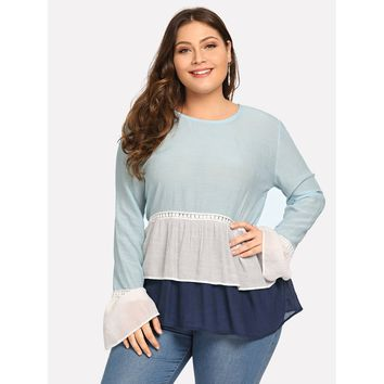 Plus Contrast Lace Layered Ruffle Hem Top Blue