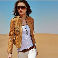 SIMPLE - Women Leather Slim Outerwear Jacket a13033