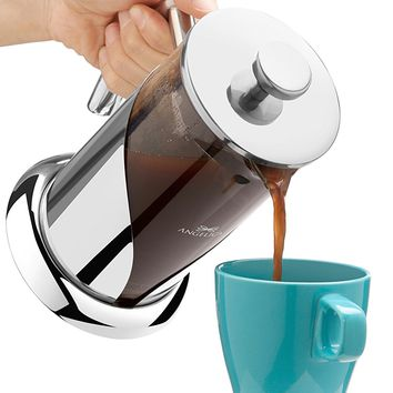 ANGELICA Stainless Steel & Glass French Press Coffee Maker & Teapot, 34oz, 1000ml, 4.25 cup, 3 Mug, Modern Durable Contemporary Design for Classy Kitchens, with Scoop & Brew Guide Makes a Great Gift!