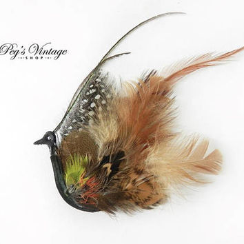 Unique Vintage Real Feather Brooch, Peacock Pheasant Feather Bird Brooch Pin