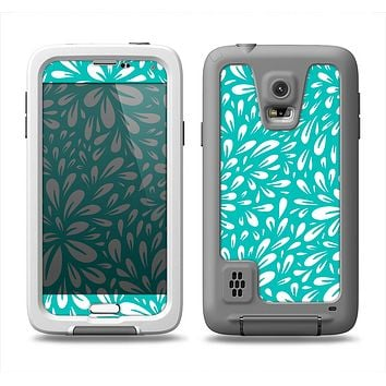 The Teal and White Floral Sprout Samsung Galaxy S5 LifeProof Fre Case Skin Set
