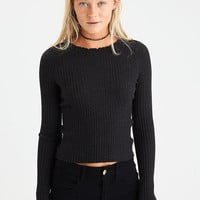 AEO Ribbed Crinkle-Collar Sweater, Charcoal Heather