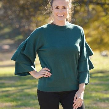 Mud Pie Dawson Ruffle Sleeve Sweater
