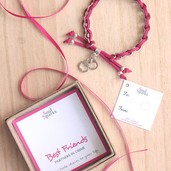 Handcuff bracelet, Best Friends Partners in Crime Bracelet in Pink Suede Cord and Silver Chain, Pink Bracelet