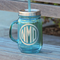 mason mug, monogrammed mug, acrylic mason mug, wedding cups, wedding party favor, bachelorette party cup, bridesmaid  cup, acrylic cup, aqua