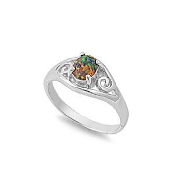 Sterling Silver Filigree Oval 9MM Black Lab Opal Ring