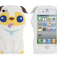 Cartoon Pug Shaped Protective Case for iPhone 4/4S (White) by AHMET