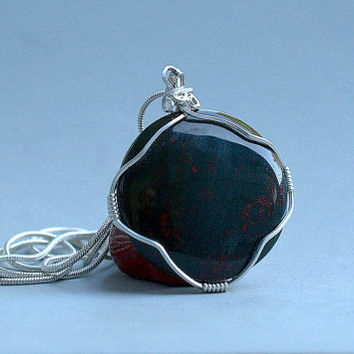 Round shape Blood stone pendant silver wire wrapped with a silver plated necklace