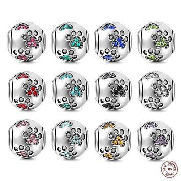 Unique Authentic 925 Sterling Silver round Pet Paw Prints beads with CZ Fit Original Pandora Charm Bracelet necklace DIY Jewelry