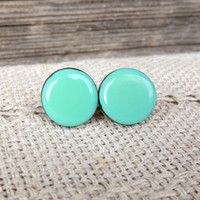 Mint stud earrings, Mint earrings, Green earrings, Mint jewelry, Stud earrings, Christmas gift, Green stud, Mint accessories, Small earrings