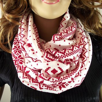 Red and White Infinity Scarf....Christmas Season...Circle tube Scarf....Loop Scarf....Cotton Jersey....Large Cowl...Handmade by Lilia Vanini
