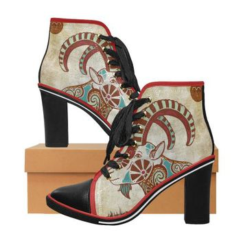 Aries - Women's Zodiac Print Lace Up Canvas Ankle Boots