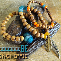 Boho hippie jewelry bracelet, wooden and semi precious beaded bracelet set