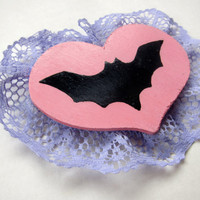 Creepy Cute Pink & Purple Lacey Bat Large Brooch Pin -- One of a Kind Kawaii Pastel Goth Accessory!