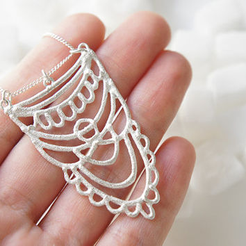 SUKKAR Silver Necklace - Moroccan Sugar Collection - Handmade, organic, lacy, bohemian, henna, bridal jewelry, curb chain, amulet, candy