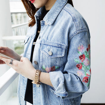 Fashion Women Denim Jacket 2016 Autumn New Flower Embroidery Basic Coats Boyfriend Style Single Breasted Outwear abrigos mujer