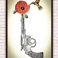 Retro Vintage Poppy Flower / Revolver Gun / Bee / Hummingbird // Rustic Home Botanical Floral Decor Art Poster Print