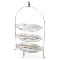 Silver-Plated 3-Tier Serving Tray, Decorative Trays