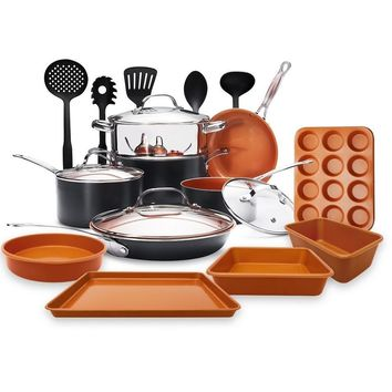 Gotham Steel 20 Piece Set with Bakeware and Square Shallow