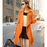 Autumn & Winter Orange POLO Neck Irregular Slim Trench Coat