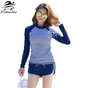 DCCK7N3 Summer Beach High Quality Navy Striped & Solid Patchwork Sport Women Two Pieces Swimwear Surfing Swimsuit Hot Girl Bathing Suit