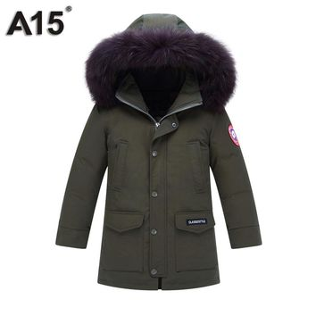 A15 Children's Winter Thick Down Jacket Boys Down Coats Fur Hooded Kids Parka Green Black Teenage Outwear Coats Big Age 12 14 16