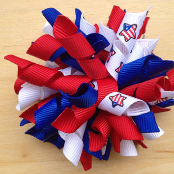 Red, white & blue korker bow - patriotic hair bow, fourth of july bow, red white blue bow