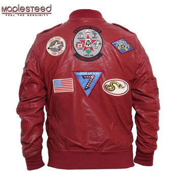MAPLESTEED Aviator Bomber Leather Jacket Men's Leather Jackets Black Wine Red Vegetable Tanned Goat Skin Fighting Pilot Coat 096