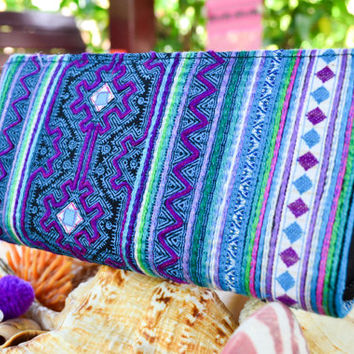 Stunning Blue Hill Tribe Purse / Colourful Handmade Purse / Thai Hmong Bag /Handmade Wallet / Hill Tribe Purse / Hmong Wallet / Thai Bag
