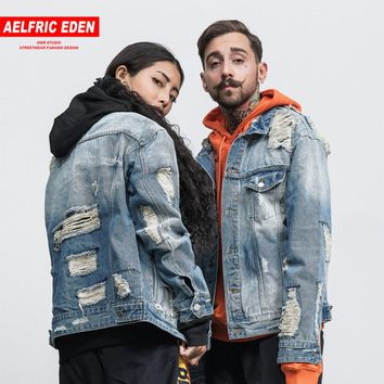 Aelfric Eden Men Denim Jacket Justin Bieber Retro Wash Water Distrressed Jeans Jacket Kanye West Style Jackets Coat  Jeans F407