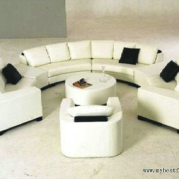 Luxury Sofa Extra Large Settee Nice Real Leather Sofas Round Shaped Settee for Hotle, Villa Furniture Home Sofa Set S8583