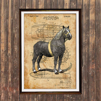 Animal print Horse poster Steampunk decor Patent print SOL141