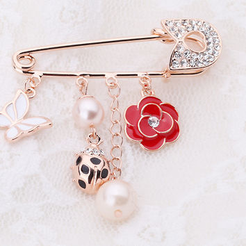 Love Rose,Ladybug and Butterfly Brooch Pin