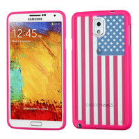 MYBAT Hybrid Gummy Cover for Galaxy Note 3 - US National Flag/Hot Pink