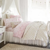 Gold Polka Dot Quilted Bedding