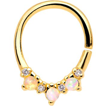 White Synthetic Opal Gold Tone Plated Perfect Pairing Septum Ring
