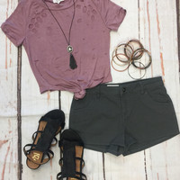 Distressed Crop Knot Top