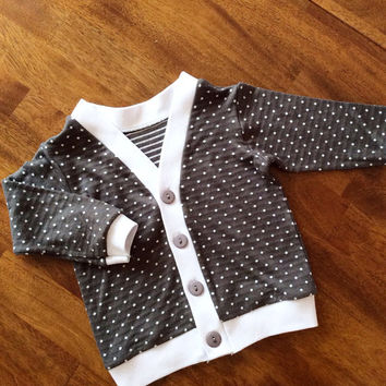 Gray Polka Dot Cardigan, Baby Girl Cardigan, Toddler Cardigan, Children's Sweater, Grey Infant Cardigan