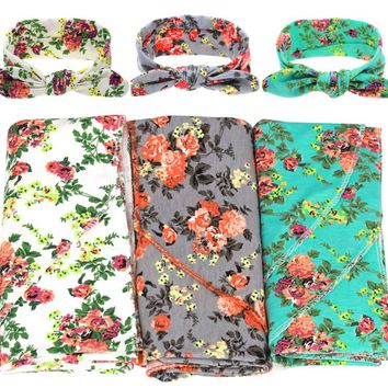 iEFiEL Cotton Baby Newborn Infant Swaddle Blanket Set with Knot Top Hat Shower Floral Pattern Toddler Gift Waddle Throw Bed Wrap
